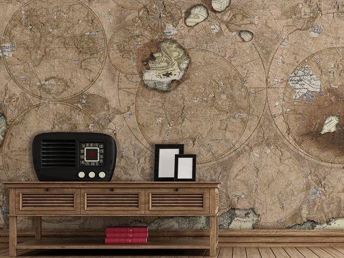 Washable vinyl wallpaper GLOBETROTTER by GLAMORA