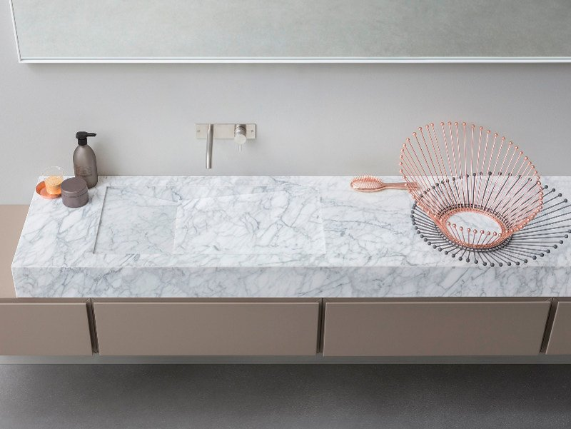 Countertop rectangular Carrara marble washbasin D TAGLIO | Carrara marble washbasin by Rexa Design