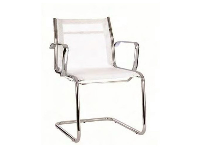 Cantilever mesh reception chair with armrests TEKNIK-R | Cantilever chair by Castellani.it