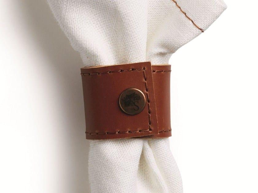 Tanned leather napkin holder NAPKIN HOLDER by Skargaarden