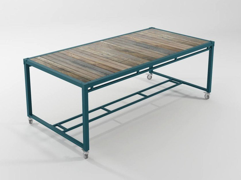 Rectangular metal dining table with casters AK- 14 | Table with casters by KARPENTER