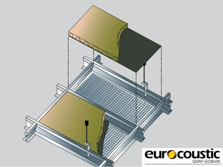 Rock wool Sound insulation and sound absorbing panel in mineral fibre EUROBAC® by Saint-Gobain Gyproc
