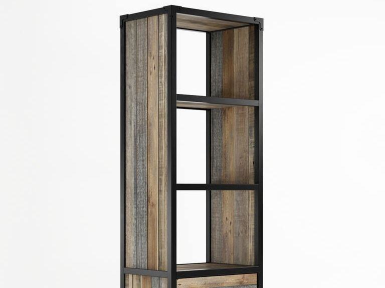 Contemporary style freestanding double-sided wooden bookcase with drawers AK- 14 | Bookcase with casters by KARPENTER