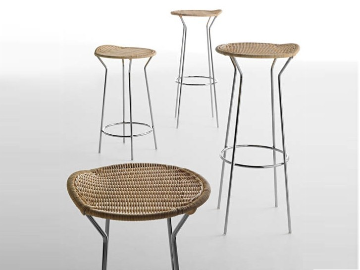 High woven wicker stool BAR by Casamania & Horm