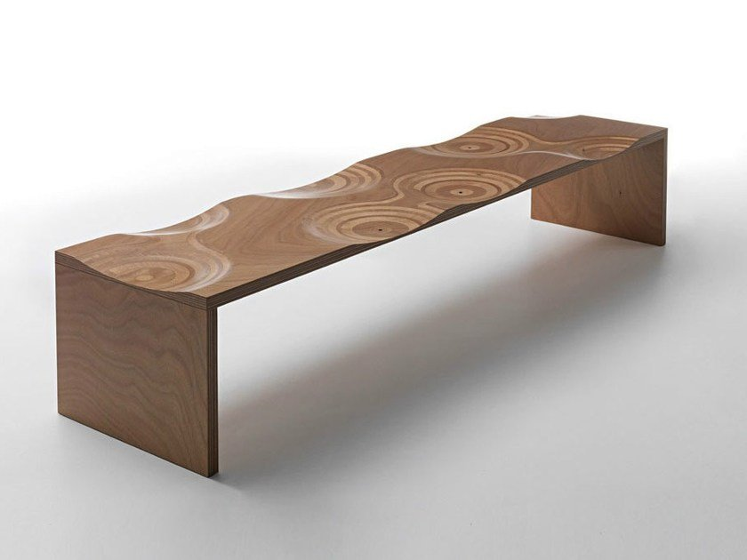 Okoumé garden bench RIPPLES OUTDOOR by horm