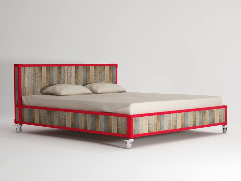 Wooden king size bed on casters AK- 14 | King size bed by KARPENTER