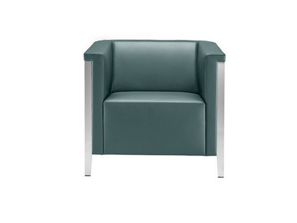 Leather armchair with armrests COLLAR | Armchair by Brunner