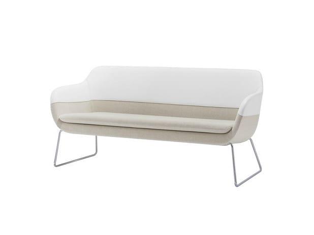 Sled base 2 seater sofa CRONA | Sled base sofa by Brunner