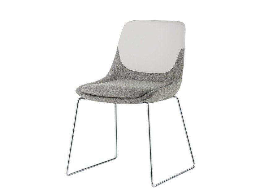 Sled base upholstered fabric chair CRONA | Sled base chair by Brunner