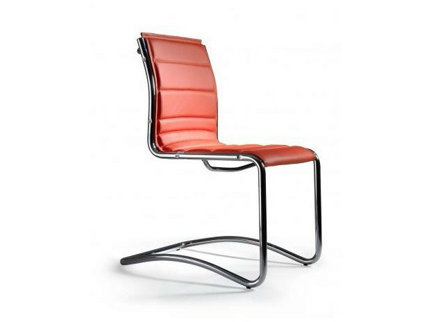Cantilever upholstered imitation leather reception chair COMET | Reception chair by Castellani.it