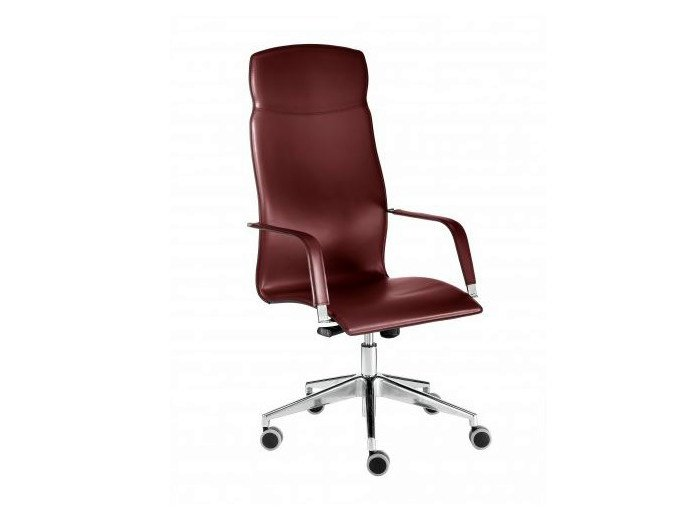 High-back tanned leather executive chair with 5-spoke base LAYLA | High-back executive chair by Castellani.it