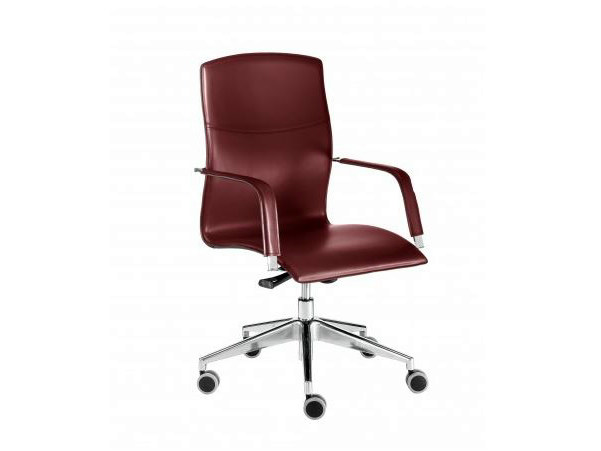 Tanned leather executive chair with 5-spoke base with casters LAYLA | Executive chair by Castellani.it