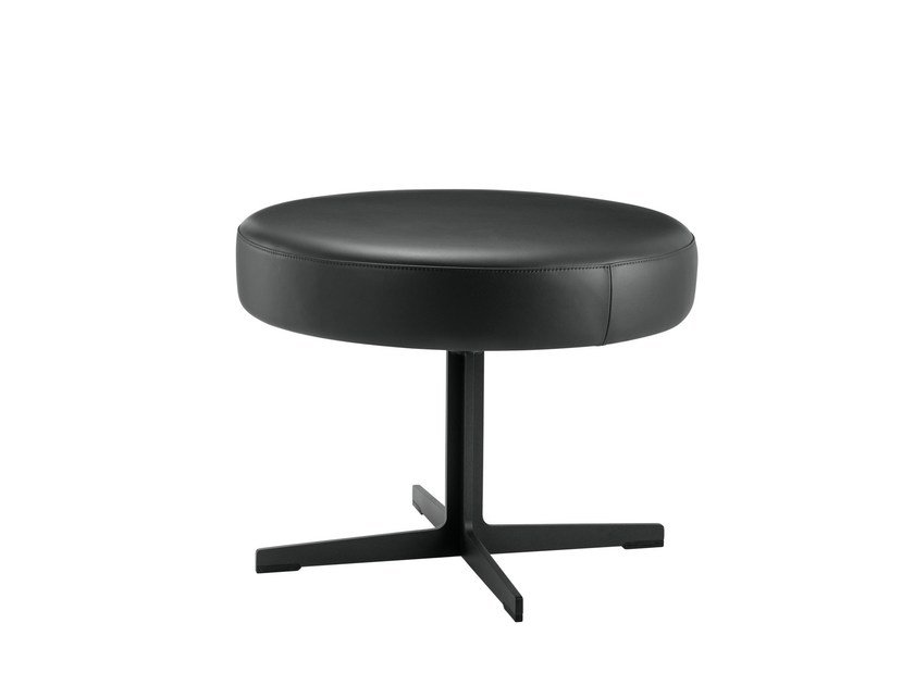 Low leather stool BANC | Low stool by Brunner