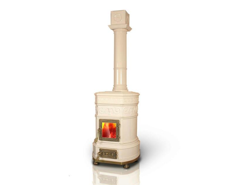 Wood-burning ceramic stove OVALE by LA CASTELLAMONTE