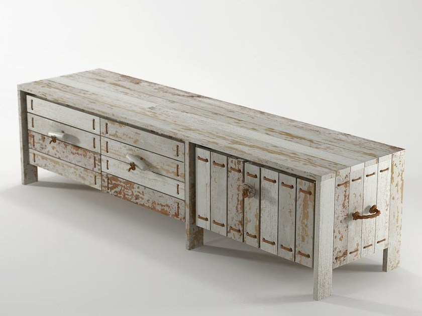 Reclaimed wood TV cabinet / sideboard ROPE ME | Wooden TV cabinet by KARPENTER
