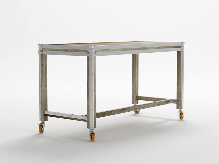Rectangular metal writing desk with casters ROADIE | Writing desk by KARPENTER