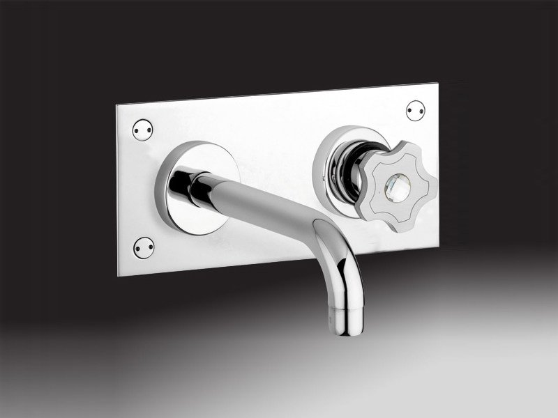 Wall-mounted washbasin tap with plate GIÒMIX | Washbasin tap with plate by Rubinetteria Giulini
