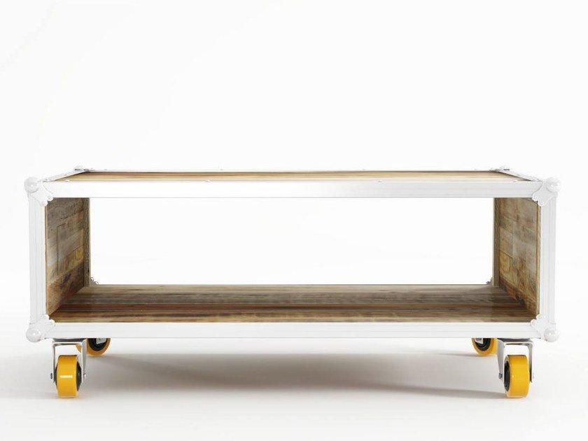 Rectangular Wooden Coffee Table With Casters ROADIE   Coffee Table With  Casters By KARPENTER