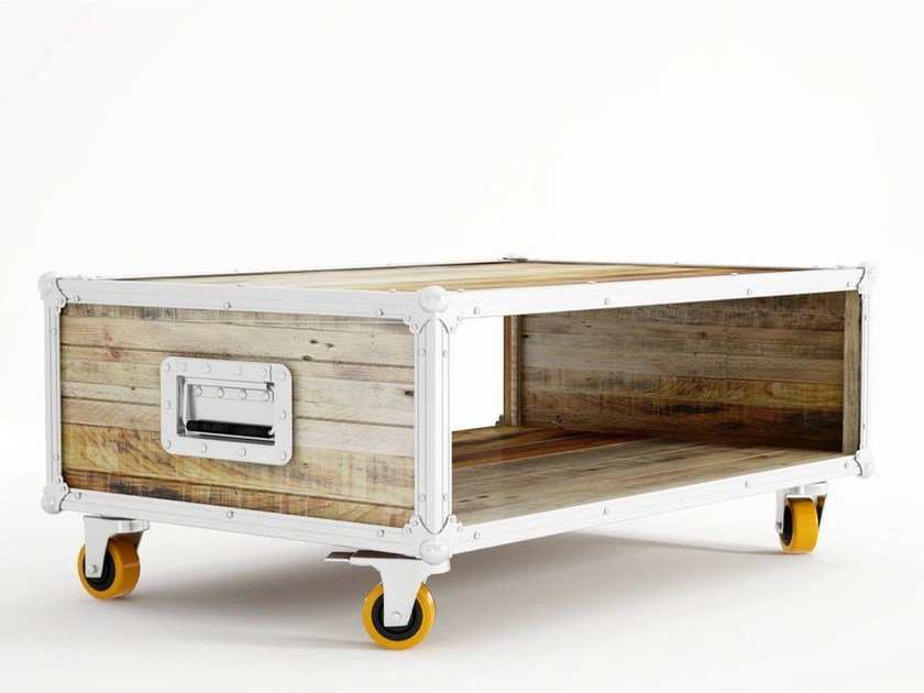 Rectangular wooden coffee table with casters ROADIE | Coffee table with casters by KARPENTER