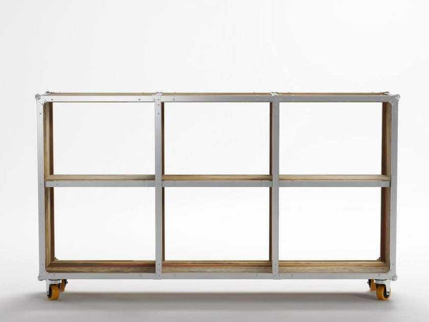 Marvelous Open Wooden Bookcase With Casters ROADIE | Bookcase With Casters By  KARPENTER