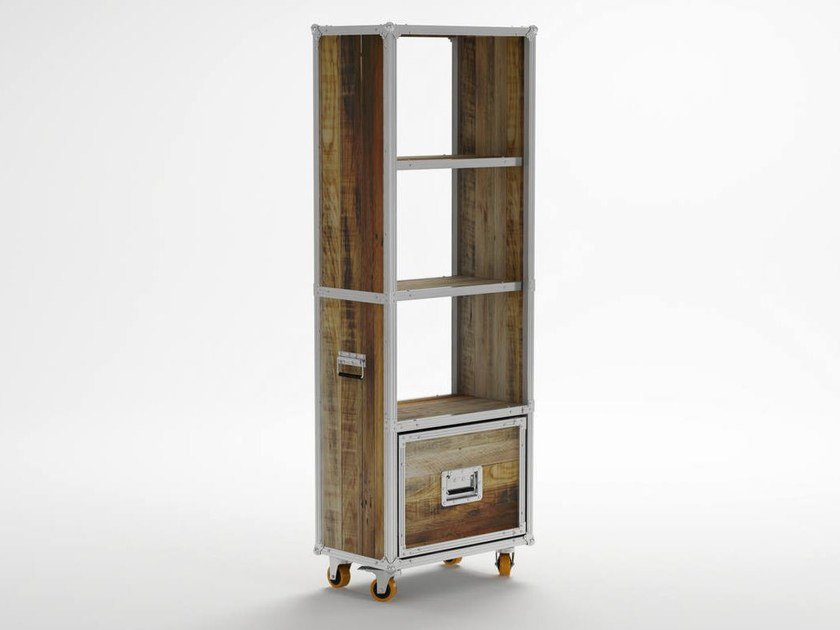 Freestanding wooden bookcase with drawers with casters ROADIE | Bookcase with casters by KARPENTER