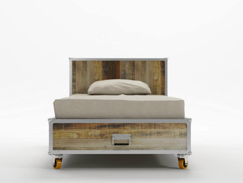 Wooden single bed on casters ROADIE | Single bed by KARPENTER
