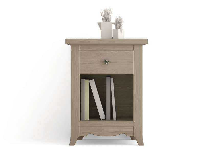 Rectangular wooden bedside table with drawers TABIÀ   Bedside table by Scandola Mobili
