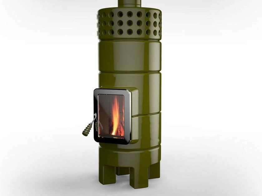 Wood-burning ceramic stove with Thermal Accumulation ROUNDSTACK 2° SIZE | Stove with Thermal Accumulation by LA CASTELLAMONTE