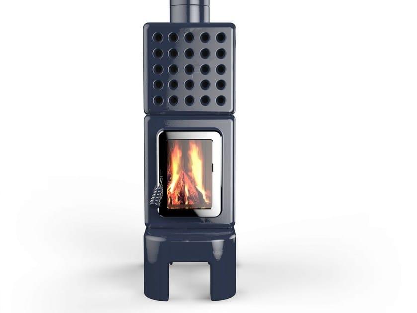 Wood-burning ceramic stove CUBISTACK LONG by LA CASTELLAMONTE