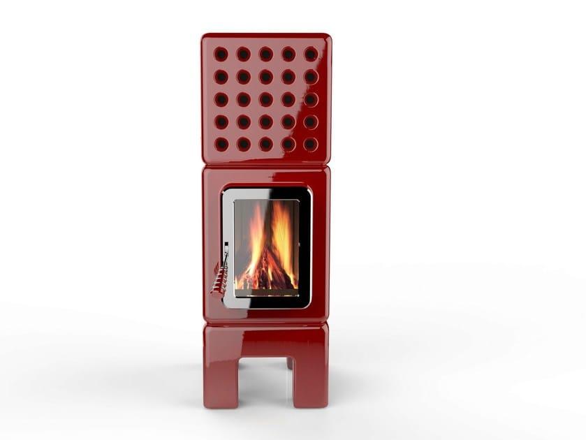 Wood-burning ceramic stove CUBISTACK SLIM by LA CASTELLAMONTE