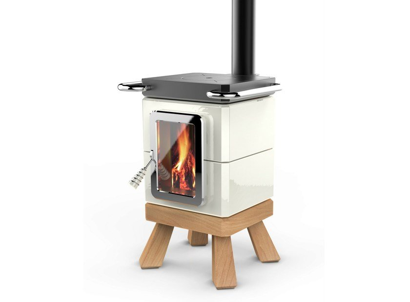 Wood-burning ceramic stove with Oven COOKINSTACK by LA CASTELLAMONTE