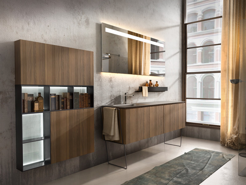 Walnut vanity unit with cabinets MAIA 302 by Edoné by Agorà Group