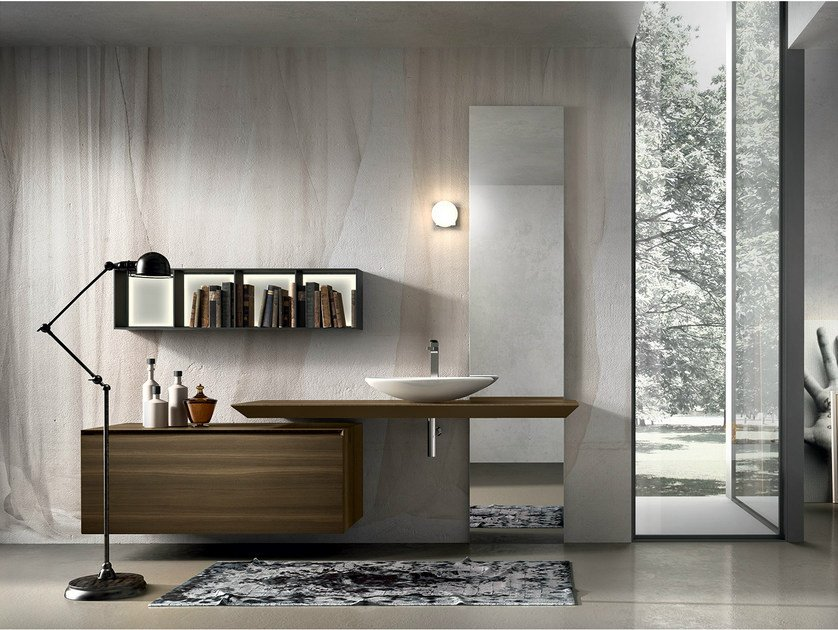 Wall-mounted oak vanity unit CHRONO 309 by Edoné by Agorà Group