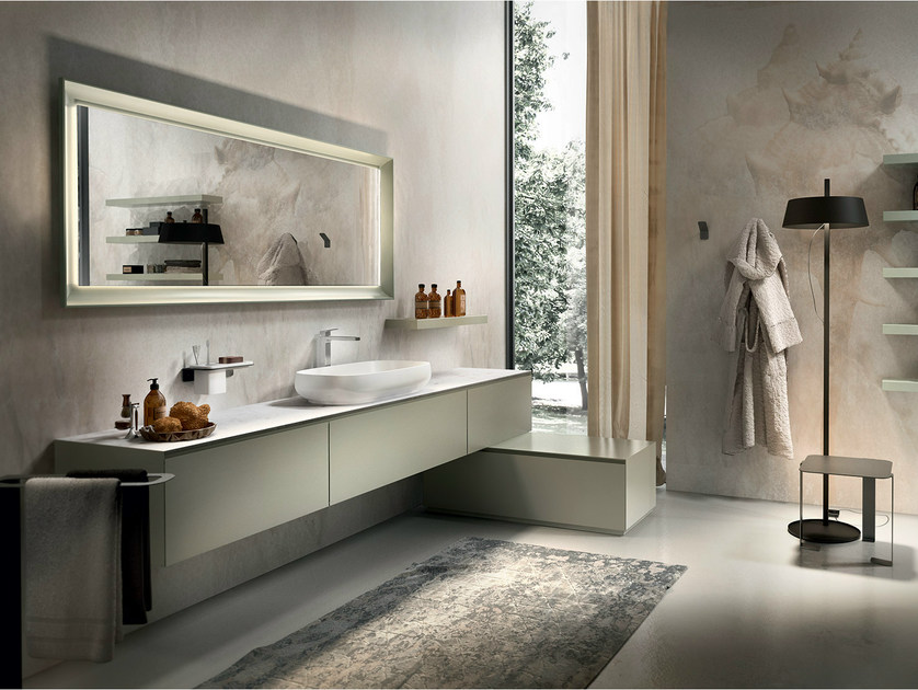 Lacquered wall-mounted vanity unit CHRONO 308 by Edoné by Agorà Group