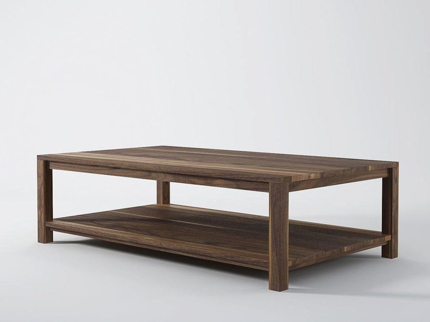 Rectangular wooden coffee table with integrated magazine rack SOLID | Coffee table by KARPENTER