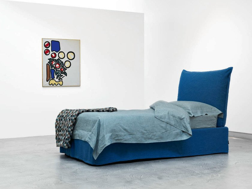 Single bed with upholstered headboard MILOS | Single bed by Casamania & Horm