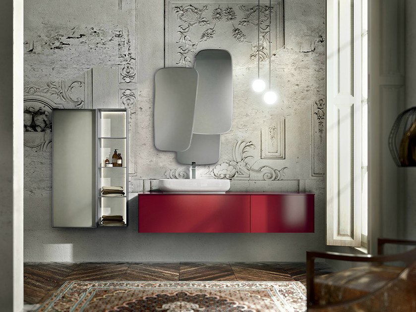 Wall-mounted vanity unit with cabinets ENEA 311 by Edoné by Agorà Group