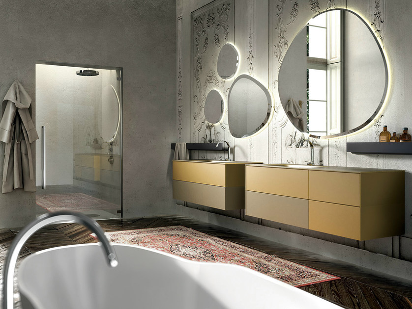 Wall-mounted sandblasted glass vanity unit with mirror ENEA 314 by Edoné by Agorà Group