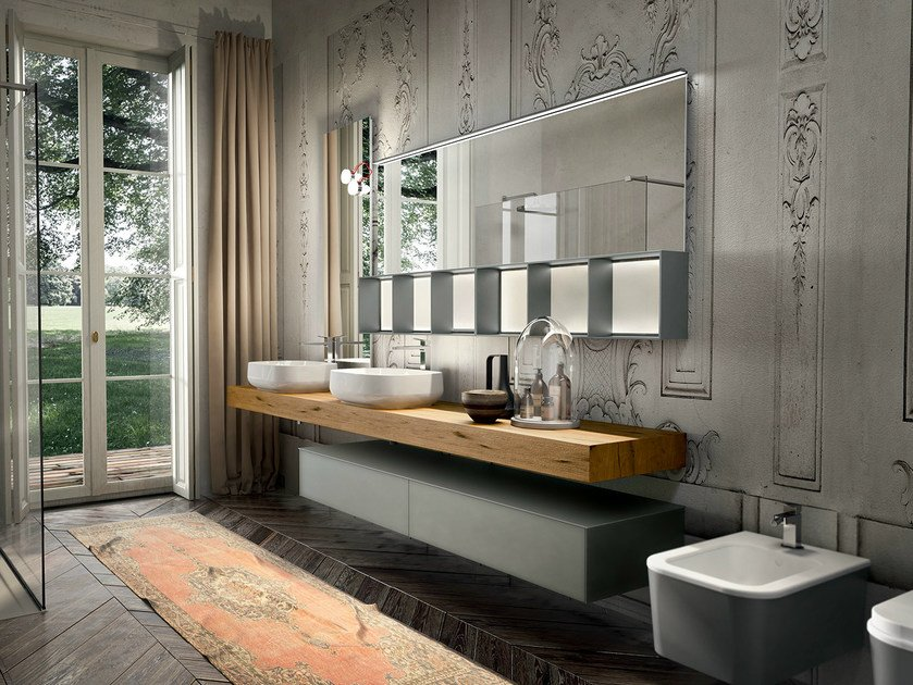 Wall-mounted vanity unit with mirror ENEA 312 by Edoné by Agorà Group