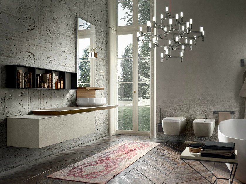 Wall-mounted vanity unit with mirror ENEA 313 by Edoné by Agorà Group