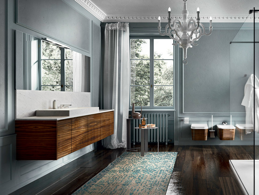 Wall-mounted rosewood vanity unit with mirror EOS 334 by Edoné by Agorà Group
