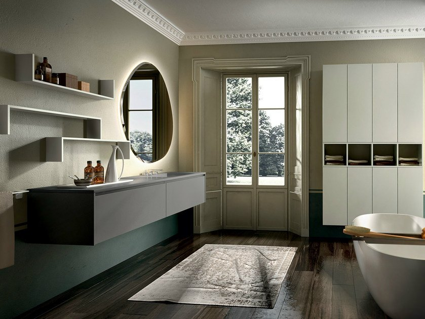 Wall-mounted vanity unit with cabinets EOS 332 by Edoné by Agorà Group