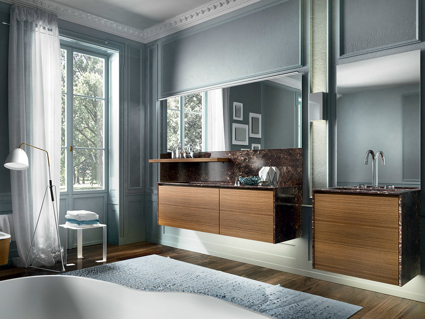 Wall-mounted walnut vanity unit with mirror EOS 335 by Edoné by Agorà Group