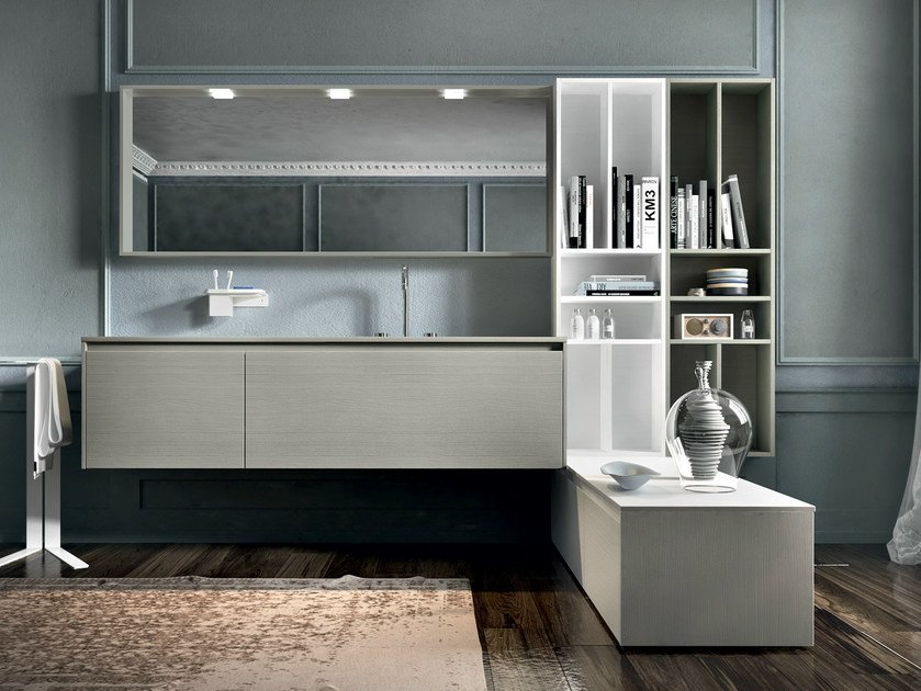 Lacquered wall-mounted vanity unit with mirror EOS 333 by Edoné by Agorà Group