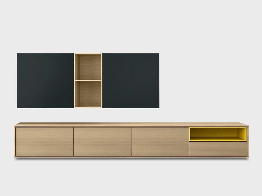 Solid wood storage wall AURA C5-2 by TREKU