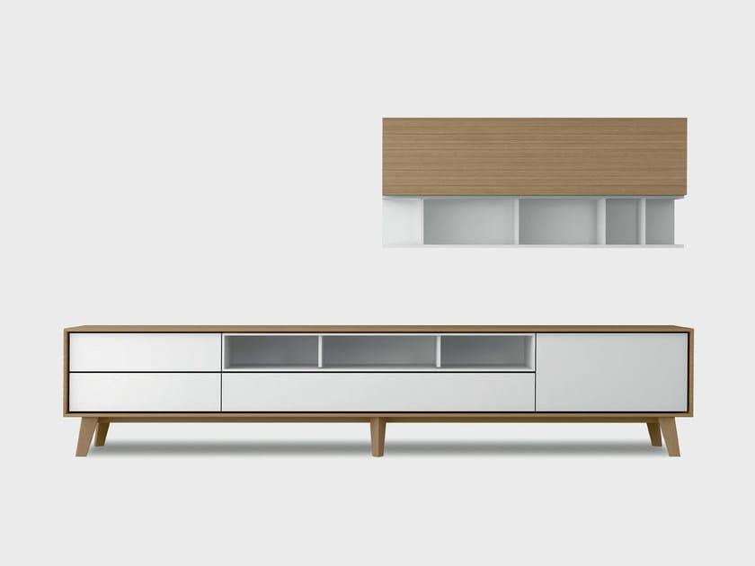 Contemporary style wooden storage wall AURA C6-3 by TREKU