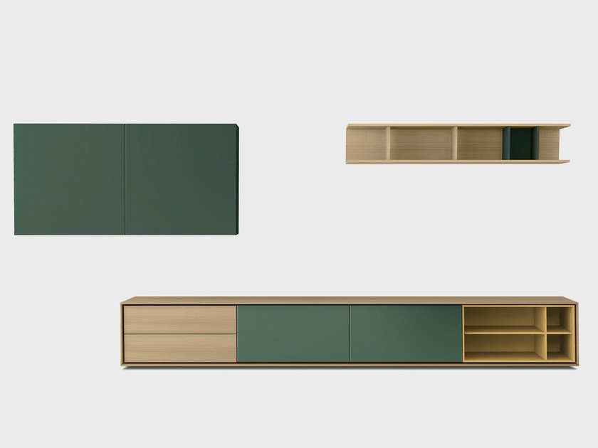 Lacquered solid wood storage wall AURA C5-3 by TREKU