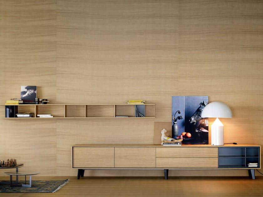 Solid wood storage wall AURA C5 by TREKU