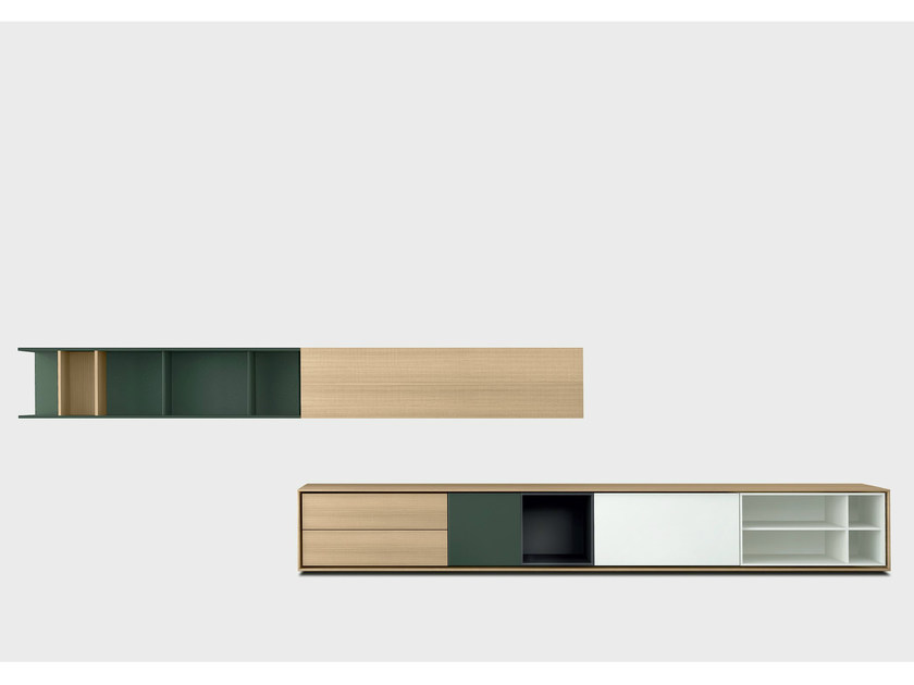 Lacquered solid wood storage wall AURA C3-2 by TREKU