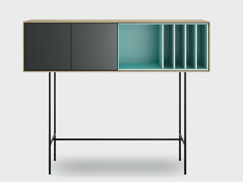 Lacquered wooden console table AURA S8-3 by TREKU